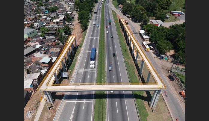 Passarela entregue em Nova Iguaçu na Baixada Fluminense Fonte: Foto: Divulgação CCR NovaDutra
